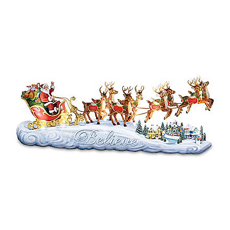 Thomas Kinkade Lighted Santa Sleigh Sculpture Plays Music