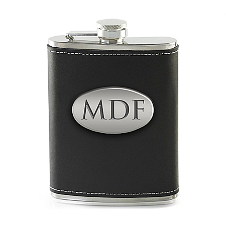 Personalized Stainless Steel & Genuine Leather Wrapped Flask