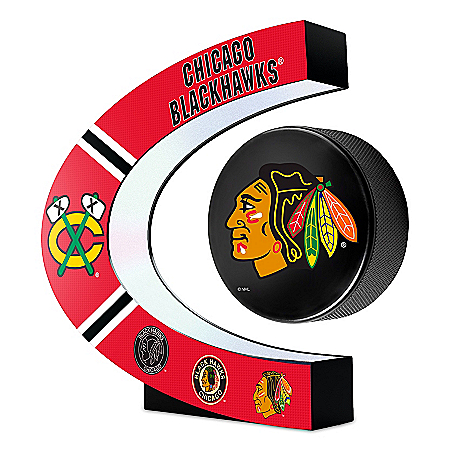 Chicago Blackhawks® Illuminated Levitating NHL® Puck Sculpture