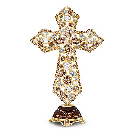 Faith Cross With Multi-Faceted Crystals