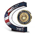 USMC - A Tribute To Excellence Levitating Illuminated Medallion Sculpture
