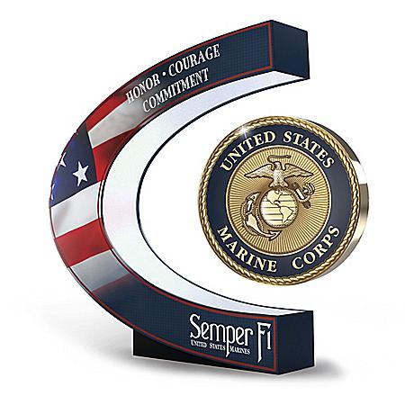 USMC: A Tribute To Excellence Levitating Illuminated Medallion Sculpture