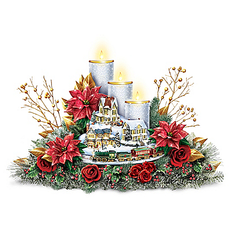 Thomas Kinkade Christmas Centerpiece With Lights And Motion