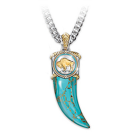 Spirit Of The West Genuine Turquoise Pendant Necklace