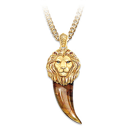 Men's Lion Pendant Ion Plated In 24K Gold With Tiger's Eye