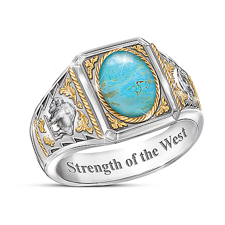 Strength Of The West Turquoise Ring With Sculpted Bison