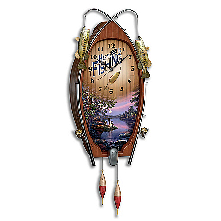 James Meger Lakeside Memories Sculpted Fishing Art Wall Clock