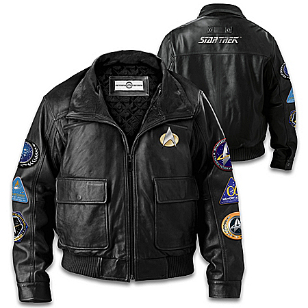 STAR TREK Men's Black Leather Jacket With Themed Patches