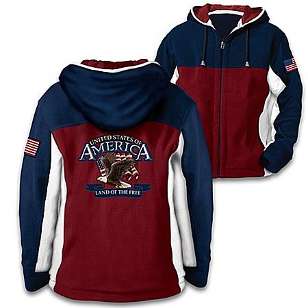 Land Of The Free Men's Hooded Front-Zip Fleece Jacket
