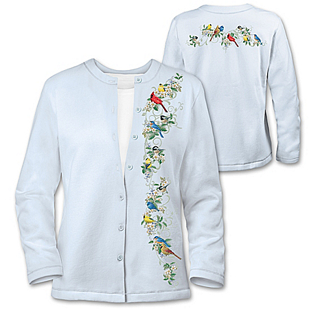 Nature's Symphony Women's Embroidered Cardigan With Songbird Design