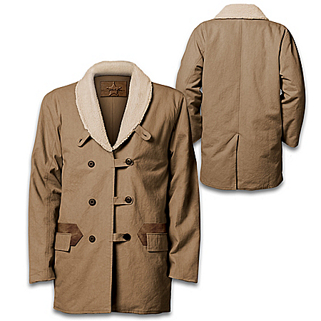 John Wayne Double Breasted Western Jacket With Sherpa Collar