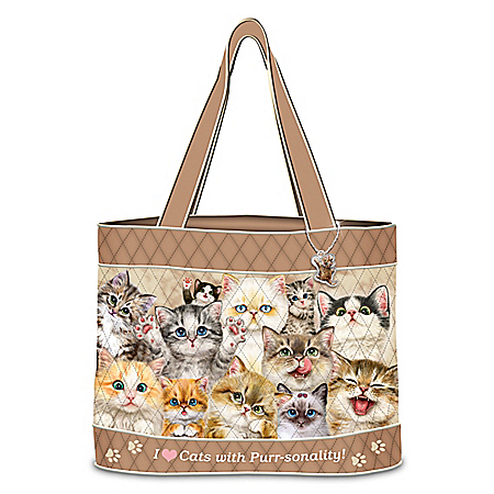 Kayomi Harai Cats With Purr-sonality Women's Quilted Tote Bag