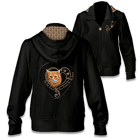 Paw Prints On My Heart Hoodie: Choose Your Cat Portrait