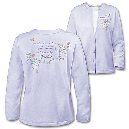 Grandma's Loving Heart Women's Inspirational Embroidered Cardigan