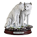 Soul Mates Hand-Painted Wolf Sculpture