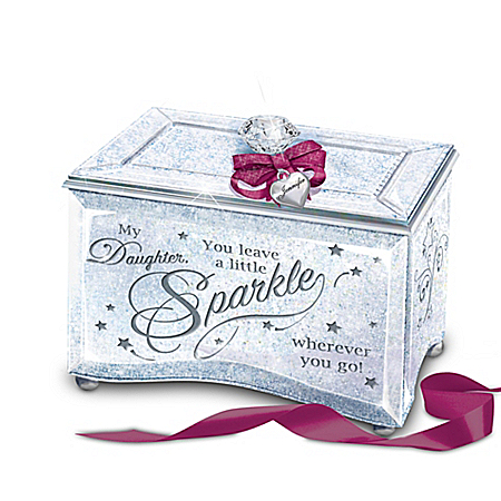 My Daughter, Sparkle And Shine Personalized Glass Music Box