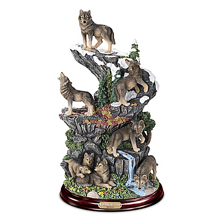 Forest Guardians' Domain Hand-Painted Wolf Sculpture