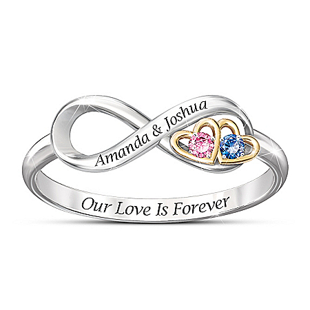 Our Love Is Forever Women's Infinity-Shaped Personalized Birthstone Ring - Personalized Jewelry