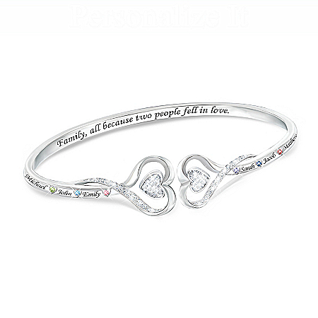 Two Hearts Together, Family Forever Sterling Silver Plated Personalized Birthstone Bracelet With Hearts Swarovski Crystals – Per