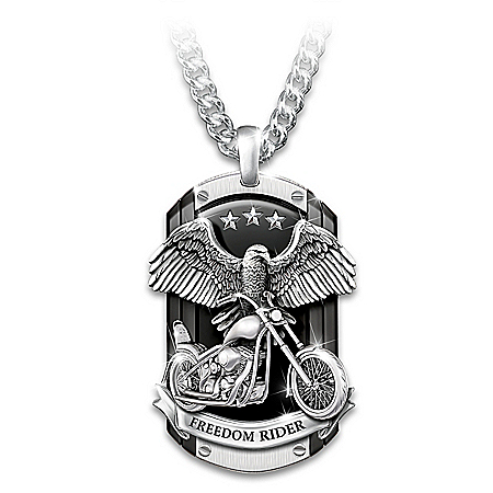 Freedom Rider Men's Sculpted Stainless Steel Dog Tag Pendant