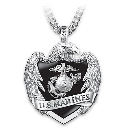 USMC Men's Stainless Steel Eagle Shield Pendant Necklace