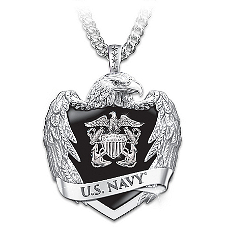 U.S. Navy Men's Stainless Steel Eagle Shield Pendant Necklace