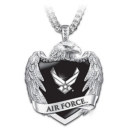 U.S. Air Force Men's Stainless Steel Eagle Shield Pendant Necklace