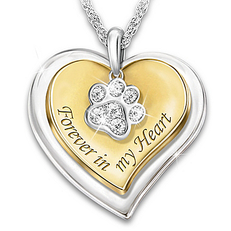 Forever In My Heart Women's Personalized Pendant Necklace Adorned With Swarovski Crystals & 18K-Gold Plated Accents For Dog Love