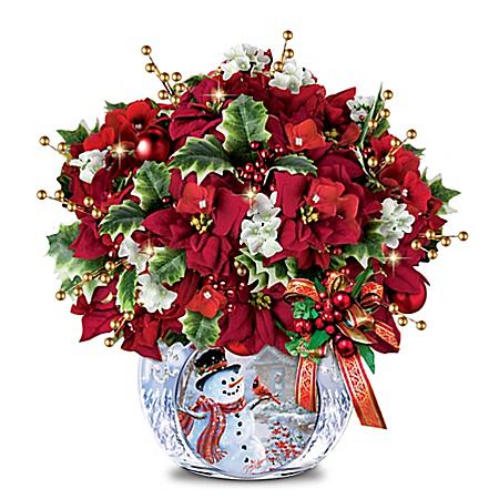 Dona Gelsinger Snowman Art Illuminated Floral Centerpiece