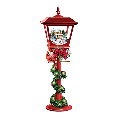 Thomas Kinkade Lighted Lantern With Holiday Music And Timer