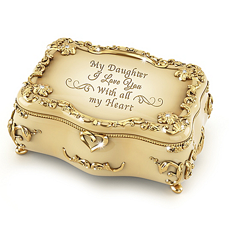 Image of Daughter, I Love You Gold-Plated Heirloom Porcelain Music Box