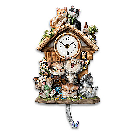 Frolicking Felines Fully Sculpted Hand-Painted Cat-Themed Cuckoo Clock