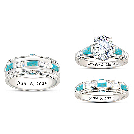 Sacred Promise Personalized Platinum Plated Wedding Ring Set Featuring Over 5 Carats Of Simulated Stones & 14 Genuine Turquoise