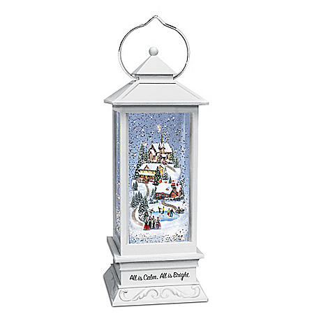 Thomas Kinkade All Is Calm, All Is Bright Musical Snowglobe Lantern