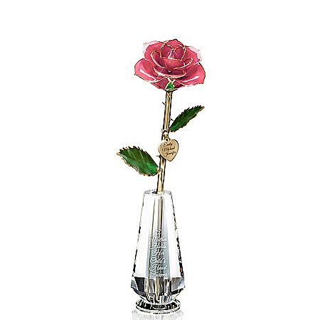 Preserved Rose Centerpiece With Personalized Charm For Mom