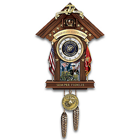USMC Semper Fi Fully Sculpted Cuckoo Clock With Mahogany Finish