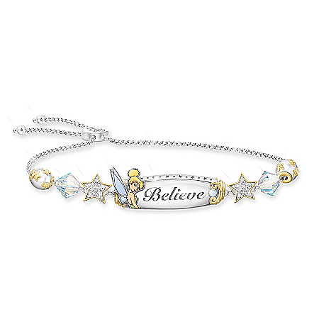 Tinker Bell Believe Bracelet With Crystal Beads And Charms