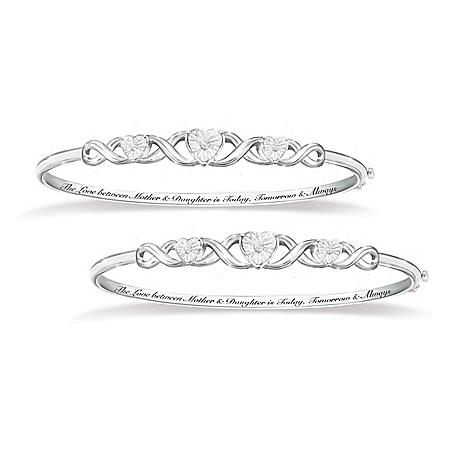 Mother & Daughter, Love Always Diamond Bangle Bracelet Set