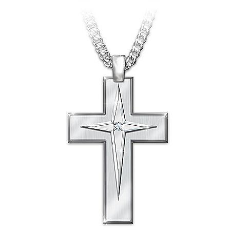 God's Blessings Men's Stainless Steel Cross Pendant Necklace
