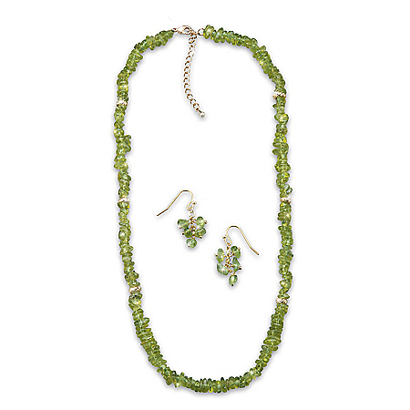 Nature's Splendor Olivine Necklace And Earrings Set