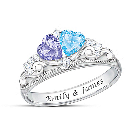 Our Fairy Tale Romance Women's Personalized Tiara Design Ring With Heart-Shaped Birthstones – Personalized Jewelry