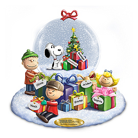 Image of Colorful Peanuts Christmas Snowglobe with Personalized Family Names
