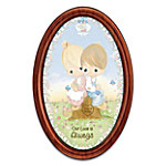 Precious Moments Our Love Is Always Personalized Oval Collector Plate In Mahogany-Finished Frame