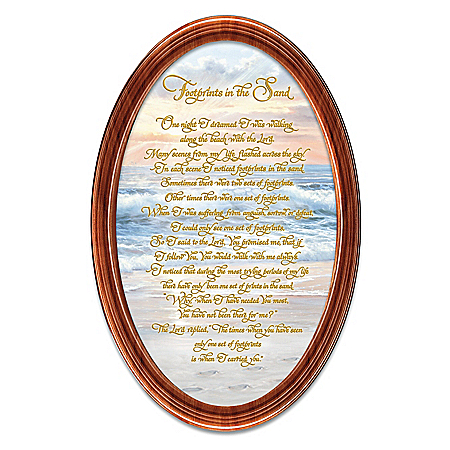 Footprints In The Sand Framed Oval Collector Plate