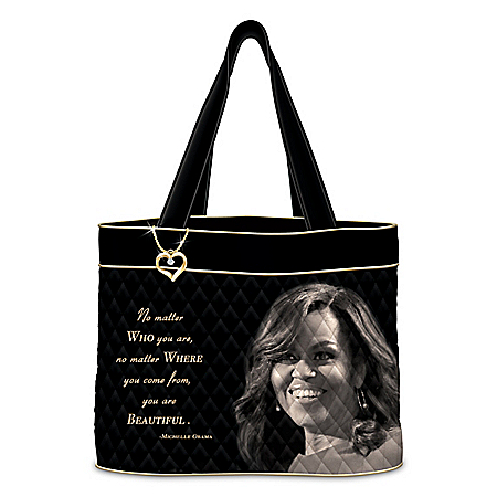 Michelle Obama Women's Quilted Tote Bag With Heart-Shaped Charm