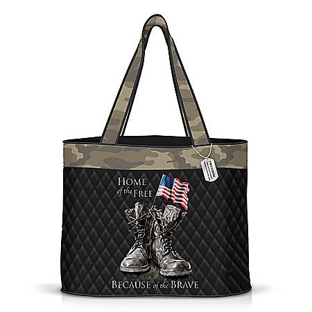 Because Of The Brave Quilted Tote Bag With Dog Tag Charm