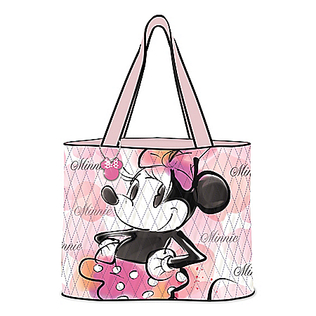 Disney Pretty & Pink Quilted Tote Bag With Minnie Mouse Head Silhouette Charm