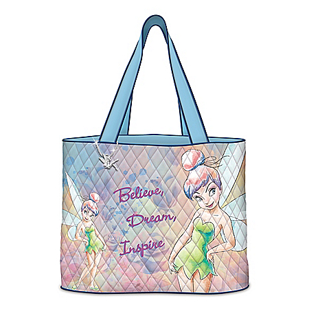 Disney Believe In The Magic Women's Tinker Bell Quilted Tote Bag