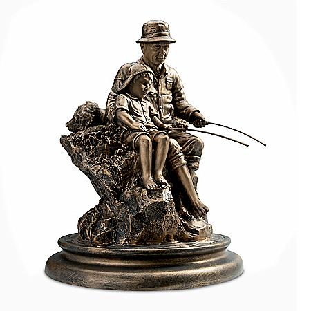 Summer Memories Cold-Cast Bronze Fishing Sculpture