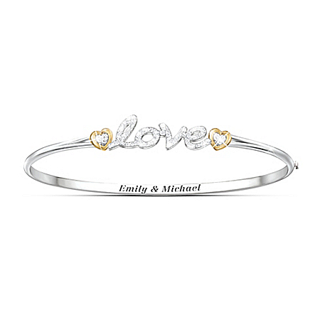 Together In Love Personalized Bangle Bracelet With Heart-Shaped Crystals – Personalized Jewelry